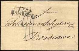 HAMBURG - THURN UND TAXISCHES O.P.A. 1826, TT.R.4 HAMBOURG, L2 Und R3 ALLEMAGNE/PAR/GIVET Auf Brief Nach Bordeaux, Rücks - Deutschland