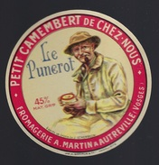 """Etiquette Fromage  Petit Camembert De Chez Nous  """"le Punerot"""" Fromgerie A Martin A Autreville Vosges 88 """"Homme Pipe"""" - Cheese"""
