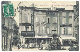 Cpa Narbonne ( Aude ) - Place Des Quatre-Fontaines ( Remouleur Petit Plan ) - Narbonne