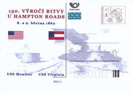 Tschech. Rep. / Ganzsachen (Pre2012/15) 150. Jahrestag Der Schlacht Von Hampton Roads (1862) USS Monitor, CSS Virginia - Briefe