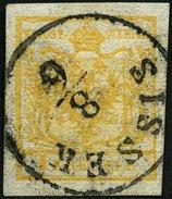ÖSTERREICH 1Xa O, 1850, 1 Kr. Gelb, Handpapier, K1 SISSEK, Pracht - Used Stamps