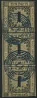 BADEN 1a O, 1851, 1 Kr. Schwarz Auf Sämisch Im Senkrechten Dekorativen Dreierstreifen, Blauer Nummernstempel 17 (BOXBERG - Baden