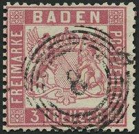 BADEN 16 O, 1862, 3 Kr. Rosakarmin, Nummernstempel 8, Kleine Kratzspur Sonst Pracht, Mi. 380.- - Baden