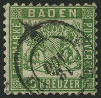 BADEN 21a O, 1862, 18 Kr. Grün, Minimaler Eckzahnbug Sonst Pracht, Gepr. Thier Und Grobe, Mi. 700.- - Baden
