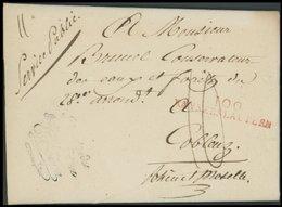 BAYERN 100 KAYSERSLAUTERN, Roter L2, Auf Persönlichem Briefpapier Charles Eickemeyer Nach Coblenz (1810), Pracht - [1] ...-1849 Prephilately