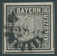 BAYERN 1Ia O, 1849, 1 Kr. Schwarzgrau, Platte 1, Allseits überrandig Mit Allen Zwischenlinien, Aus Der Bogenmitte, Da Un - Bavaria