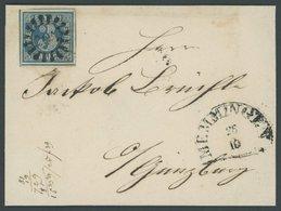 BAYERN 2Ib BRIEF, 1850, 3 Kr. Schwarzblau, Platte 1, Allseits Mit Kleinem Unterrandteil!, Zentrischer MR-Stempel 205 Von - Bavaria