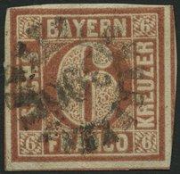 BAYERN 4I O, 1849, 6 Kr. Dunkelbraunorange, Type I, Pracht, Gepr. Drahn Und Starauschek - Bavaria