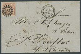 BAYERN 4I BRIEF, 1851, 6 Kr. Rötlichbraun, Type I, Farbfrisches Kabinettstück Mit 3 Zwischenlinien, Mit MR-Stempel 281 A - Bavaria