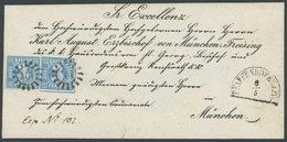 BAYERN 2II BRIEF, 1855, 3 Kr. Blau, Zwei Nahezu Vollrandige, Farbfrische Prachtstücke Mit Seltenem MR-Stempel 461 (Pfaff - Bavaria