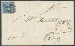 BAYERN 2II BRIEF, 1855, 3 Kr. Blau, Fast 4 Schnittlinien, Auf Prachtbrief Mit MR-Stempel 260 (Passau) - Bavaria