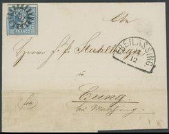 BAYERN 2II BRIEF, 1860, 3 Kr. Blau, Platte 4, Breitrandiges Prachtstück Auf Brief Mit MR-Stempel 135 Aus FREILASSING - Bavaria