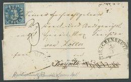 BAYERN 2IIA BRIEF, 1850, 3 Kr. Blau Ausgefüllte Ecken, Unterrandstück Mit Zentrischem MR-Stempel 522 (Tischenreuth) Auf  - Bavaria