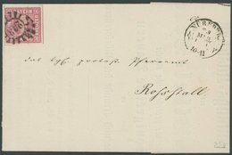 BAYERN 3Ib BRIEF, 1856, 1 Kr. Dunkelrosa, Voll-breitrandig, Auf Drucksache Mit Klarem MR-Stempel 243 (Nürnberg), Prachtb - Bavaria