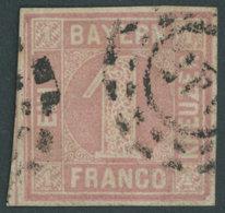 BAYERN 3II O, 1862, 1 Kr. Rosa, Platte 2, Offener MR-Stempel 145 (Fürth), Allseits Breitrandig, Pracht, R!, Fotoattest B - Bavaria