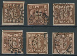 BAYERN 4II O, 1850, 6 Kr. Dunkelbraunorange, Type II, 6 Pracht- Und Kabinettwerte In Nuancen - Bavaria