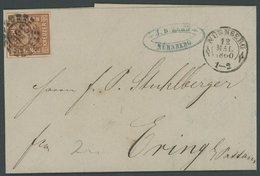 BAYERN 4II BRIEF, 1860, 6 Kr. Dunkelbraunorange, Type II, Breitrandig Mit 3 Vollen Schnittlinien, Offener MR-Stempel 356 - Bavaria