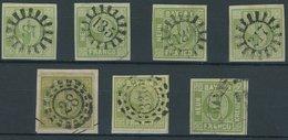 BAYERN 5 O,BrfStk , 1850, 9 Kr. Grün, 7 Pracht- Und Kabinettwerte In Nuancen - Bavaria