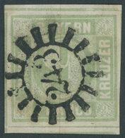 BAYERN 5aaI O, 1850, 9 Kr. Mattblaugrün, Seltene Type I, Teils Riesenrandig, Zentrischer MR-Stempel 243, Kabinett, Gepr. - Bavaria