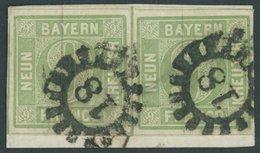 BAYERN 5b Paar BrfStk, 1853, 9 Kr. Blaugrün Im Waagerechten Breitrandigem Paar, MR-Stempel 18, Kabinettbriefstück, Gepr. - Bavaria