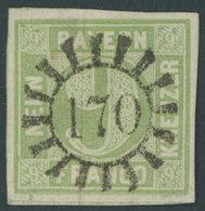 BAYERN 5c O, 1851, 9 Kr. Maigrün, Idealer Zentrischer MR-Stempel 170 (Grünstadt), Luxusstück, Gepr. Brettl - Bavaria