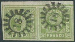 BAYERN 5d Paar O, 1852, 9 Kr. Gelbgrün Im Waagerechten Paar Aus Der Linken Oberen Bogenecke, Kabinett, U.a. Fotobefund B - Bavaria