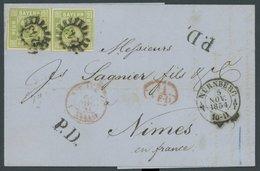BAYERN 5d BRIEF, 1854, 9 Kr. Gelbgrün, 2x Auf Brief Von NÜRNBERG Nach Frankreich, Dekorativer Auslandsbrief, Pracht, Gep - Bavaria
