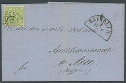 BAYERN 5d BRIEF, 1859, 9 Kr. Gelbgrün, Offener MR-Stempel 37, Kabinettbrief Aus Bayreuth - Bavaria