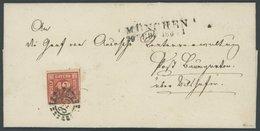 BAYERN 6 BRIEF, 1860, 12 Kr. Rot Mit Offenem MR-Stempel 325 Auf Prachtbrief Nach Baumgarten, R!, Gepr. Pfenninger - Bavaria