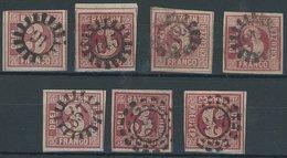 BAYERN 9 O, 1862, 3 Kr. Rosa, Rot, 7 Pracht- Und Kabinettwerte In Nuancen - Bavaria