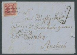 BAYERN 9a BRIEF, 1862, 3 Kr. Rosa, Riesenrandiges Kabinettstück Mit Postablagestempel ALTENMUHR Auf Brief (Rückseite Unv - Bavaria