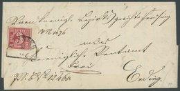 BAYERN 9a BRIEF, 1865, 3 Kr. Rosa, Riesenrandig Mit Segmentstempel FREISING Auf Brief Nach Erding, Kabinett, Gepr. Schmi - Bavaria