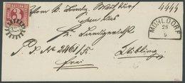 BAYERN 9b BRIEF, 1862, 3 Kr. Karmin, Breitrandiges Kabinettstück Mit MR-Stempel 323 (Mühldorf) Auf Briefhülle (nicht Vol - Bavaria