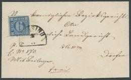 BAYERN 10 BRIEF, 1862, 6 Kr. Blau, Breitrandig Auf Brief Mit Seltenem Segmentstempel FREISING, Prachtbrief, Gepr. Schmit - Bavaria