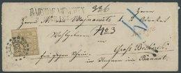 BAYERN 11 BRIEF, 1866, 9 Kr. Ockerbraun, Voll-breitrandig Auf Charge-Brief Mit Offenem MR-Stempel 325, Roter L1-Nebenste - Bavaria