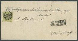 BAYERN 12 BRIEF, 1865, 12 Kr. Dunkelgelbgrün Mit Offenem MR-Stempel 325 Als Einzelfrankatur Nach Würzburg, Prachtbrief,  - Bavaria