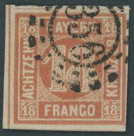 BAYERN 13b O, 1866, 18 Kr. Blassrot, Offener MR-Stempel 356, Voll-breitrandig, Kabinett, Gepr. Brettl, Mi. 600.- - Bavaria