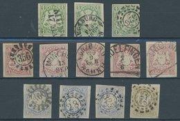 BAYERN 14-17 O, 1867, 1 - 9 Kr., 12 Pracht- Und Kabinettwerte In Nuancen - Bavaria