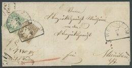 BAYERN 14a,20 BRIEF, 1869, 1 Kr. Grün Und 6 Kr. Ockerbraun Mit Segmentstempeln WEILHEIM Auf Dekorativem Prachtbrief Nach - Bavaria