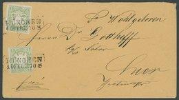 BAYERN 14a BRIEF, 1870, 1 Kr. Grün, 2 Breitrandige Kabinettwerte Auf Gelbem Ortsbrief MÜNCHEN, Gepr. Pfenninger - Bavaria