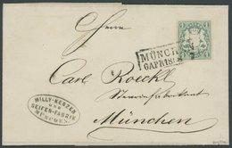 BAYERN 14c BRIEF, 1868, 1 Kr. Dunkelblaugrün Auf Ortsbrief MÜNCHEN, Kabinett, Gepr. Schmitt - Bavaria