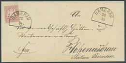 BAYERN 15 BRIEF, 1867, 3 Kr. Hellrötlichkarmin, Oberrandstück, Auf Brief Mit Segmentstempel HAMERAU, Kabinett, Gepr. Sch - Bavaria
