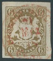 BAYERN 20 O, 1868, 6 Kr. Ockerbraun Mit Zentrischem Roten K1 BAHNHOF MÜNCHEN CHARGE, Kabinett, R!, Gepr. Pfenninger Und  - Bavaria
