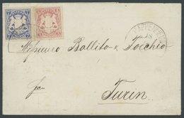 BAYERN 15,21a BRIEF, 1869, 7 Kr. Ultramarin Und 3 Kr. Karmin Mit Segmentstempel PAPPENHEIM Auf Brief Nach Turin, Pracht, - Bavaria