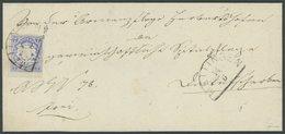 BAYERN 21a BRIEF, 1868, 7 Kr. Ultramarin, Breitrandiges Kabinettstück Auf Brief Mit Segmentstempel MEITINGEN, Gepr. Pfen - Bavaria