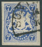 BAYERN 21c BrfStk, 1868, 7 Kr. Preußischblau, Farbfrisches Prachtstück, Gepr. Schmitt, Mi. (1000.-) - Bavaria