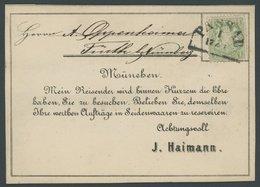 BAYERN 22Xc BRIEF, 1870, 1 Kr. Bläulichgrün, Wz. Enge Rauten, Auf Schöner Vertreterkarte Mit Segmentstempel PASSAU, Kabi - Bavaria