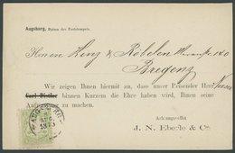 BAYERN 22Ya BRIEF, 1873, 1 Kr. Hellgrün, Wz. Weite Rauten, Auf Vertreterkarte Von AUGSBURG Nach Bregenz, Pracht, Gepr. B - Bavaria