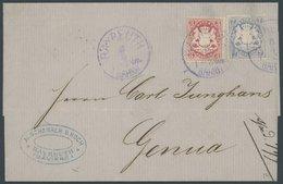 BAYERN 23X,25Xa BRIEF, 1872, 7 Kr. Mattultramarin Und 3 Kr. Hellkarmin, Wz. Enge Rauten, Mit Violetten K1 BAYREUTH BAHNH - Bavaria