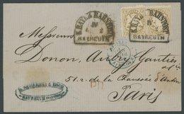 BAYERN 24X BRIEF, 1872, 6 Kr. Lebhaftockerbraun, Wz. Enge Rauten, 2x Mit Seltenen Bahnpoststempeln Von BAYREUTH Nach Par - Bavaria